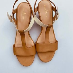 Cole Haan white  and brown leather Wedge sandal